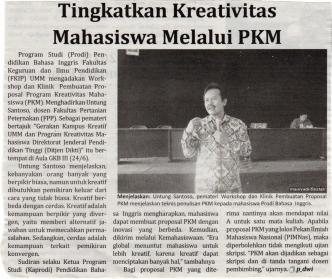 Untung Santoao, dosen FPP UMM sekaligus salah satu penilai PKM di Dikti